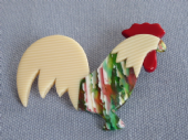 Rooster Brooch by Lea Stein Paris - Cockerel Pin -(SOLD)